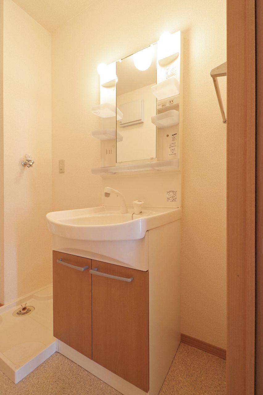 伸びるシャワータイプの洗面台なので、ヘアセットやボウルのお掃除に最適♪