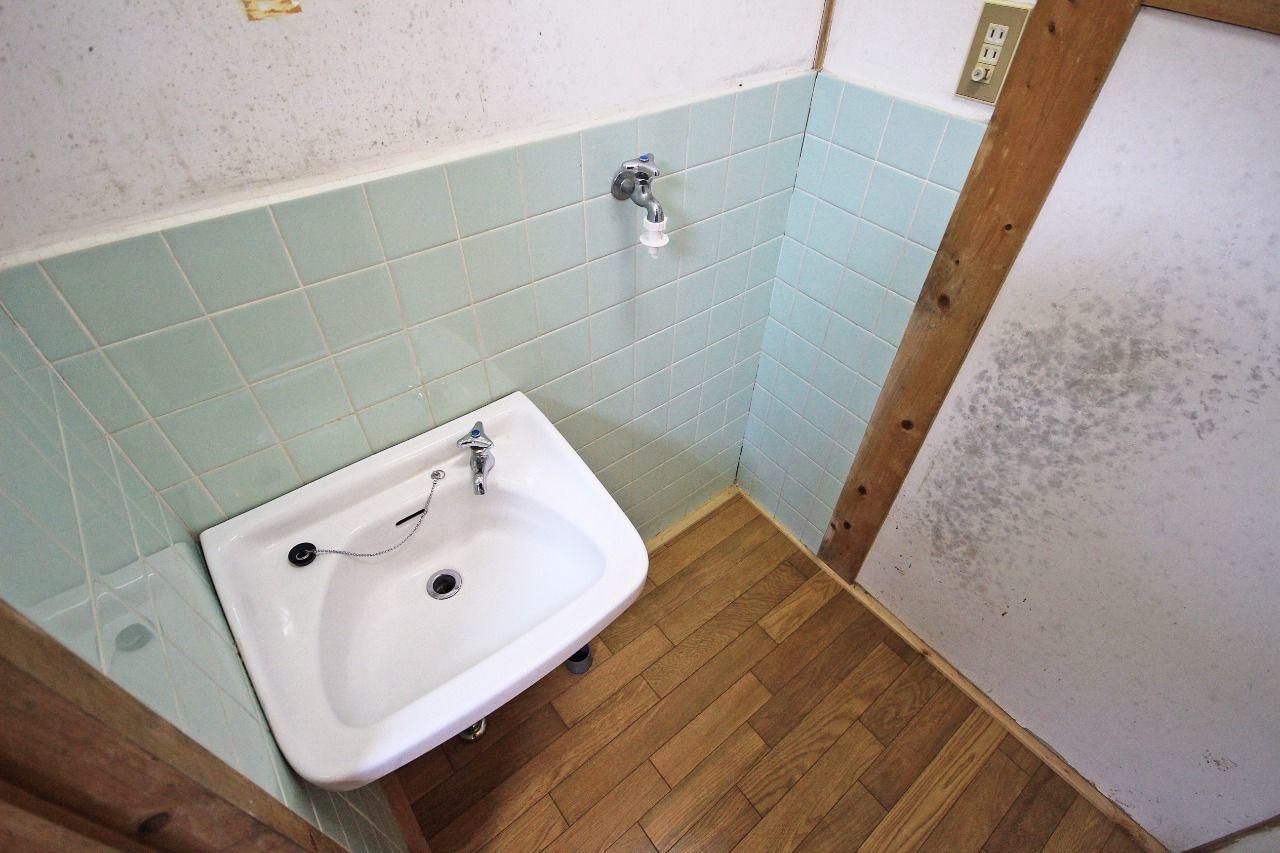 小さい洗面台と洗濯機置場が室内にあります。
