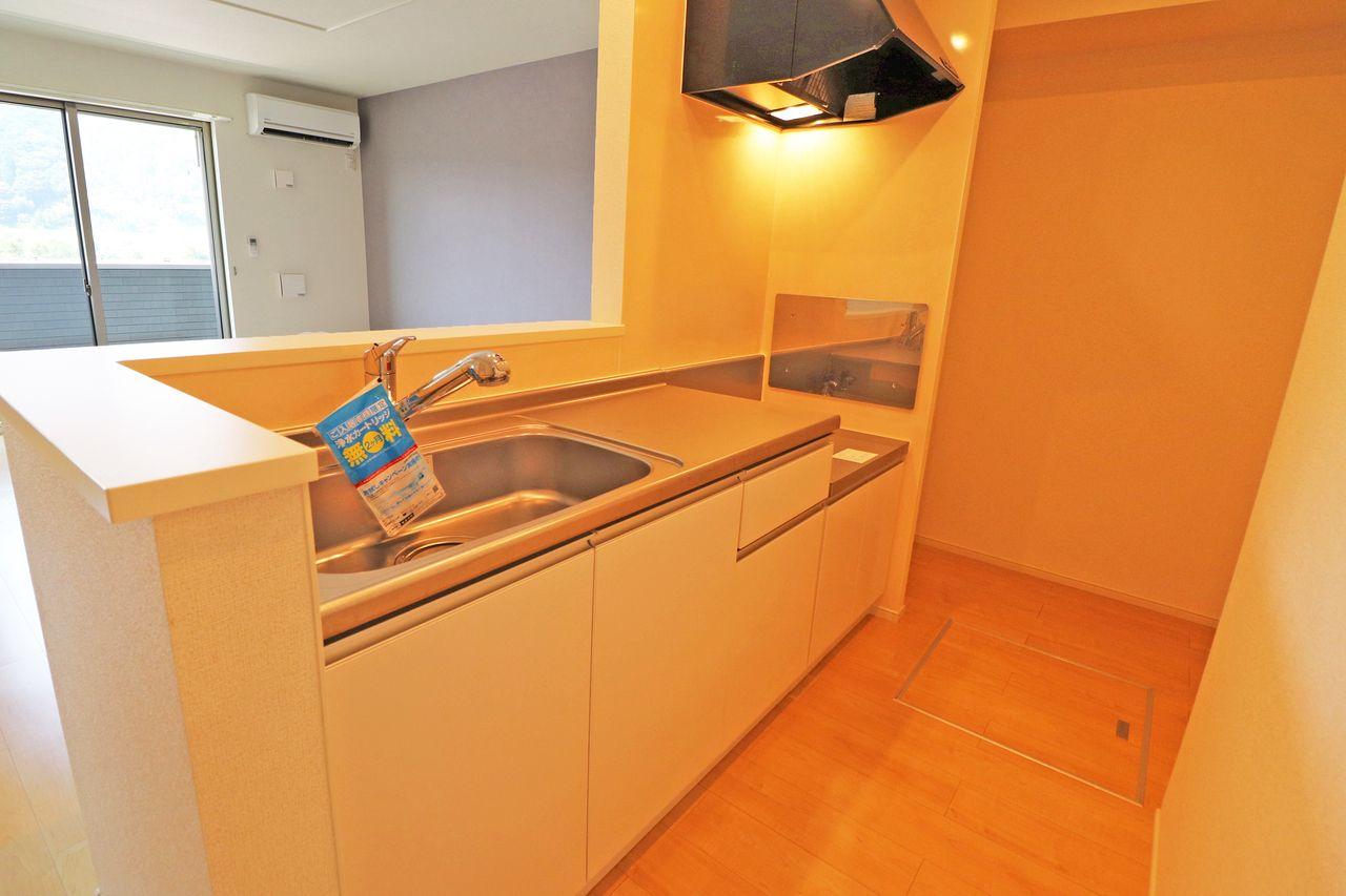 ボール・ド・ローは人気のカウンターキッチン!リビングにあるテレビを見ながらお料理・お皿洗いができます♪