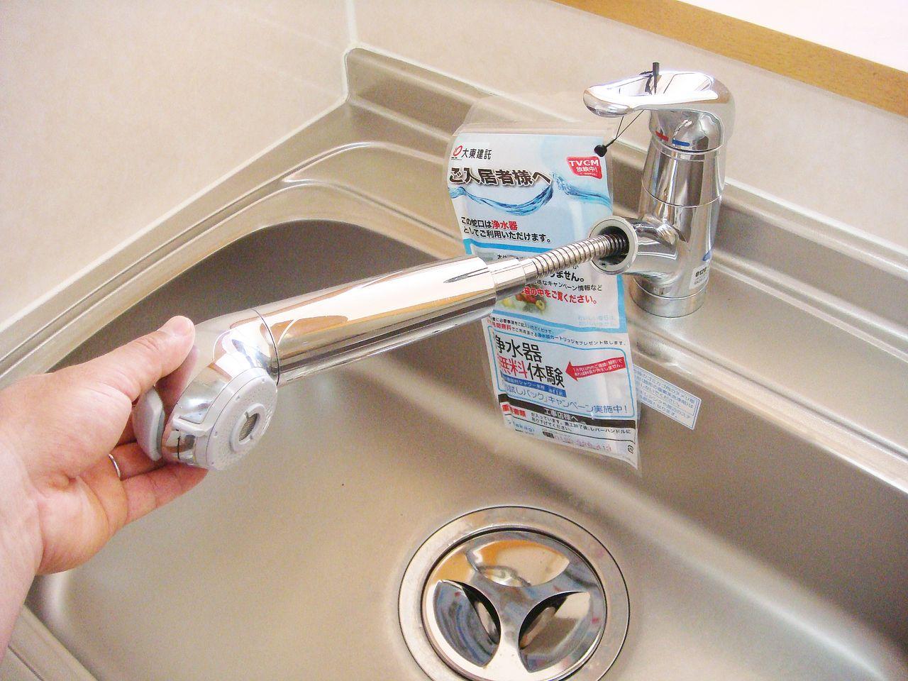 キッチンは浄水器付シャワー水栓です。伸びるタイプなのでシンクのお掃除もらくらく♪
