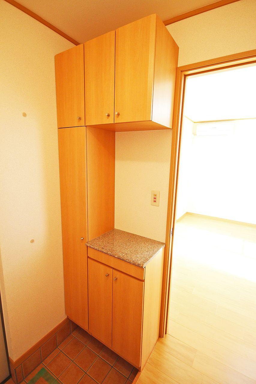 大容量のシューズボックス。靴だけじゃなく、車の鍵など小物を置くスペースがあり、使い勝手がいいです。
