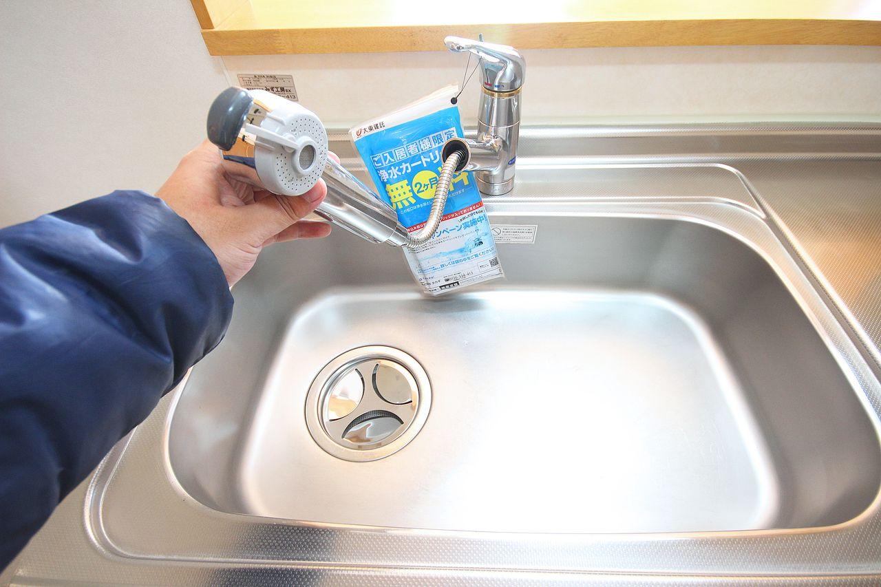 伸びるシャワー水栓。掃除や、使ったお皿にお湯を張りたい時にとても便利です。