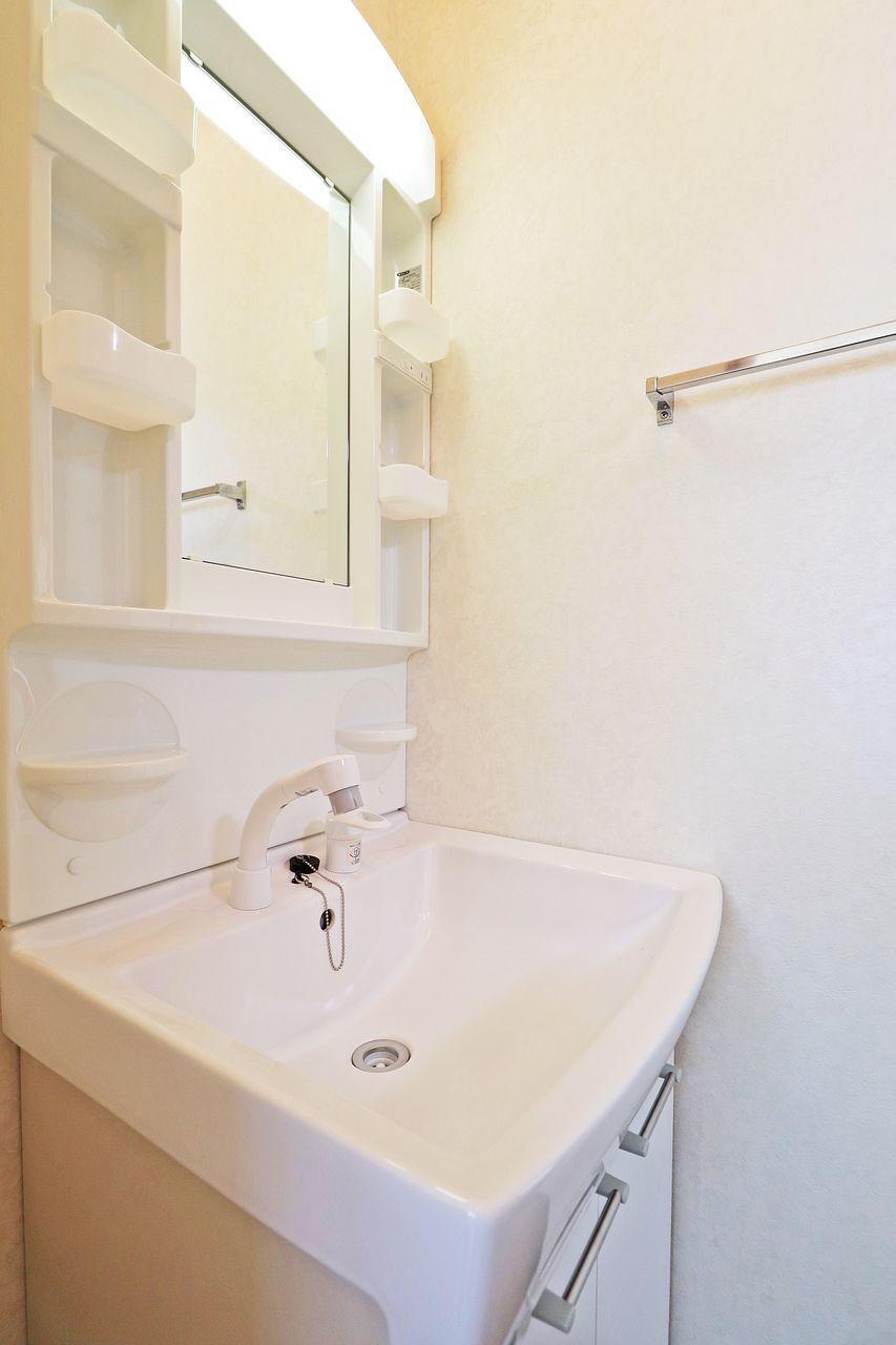 伸ばせるシャワータイプの洗面台です。朝の身支度の時短、洗面台のお掃除も楽になります。