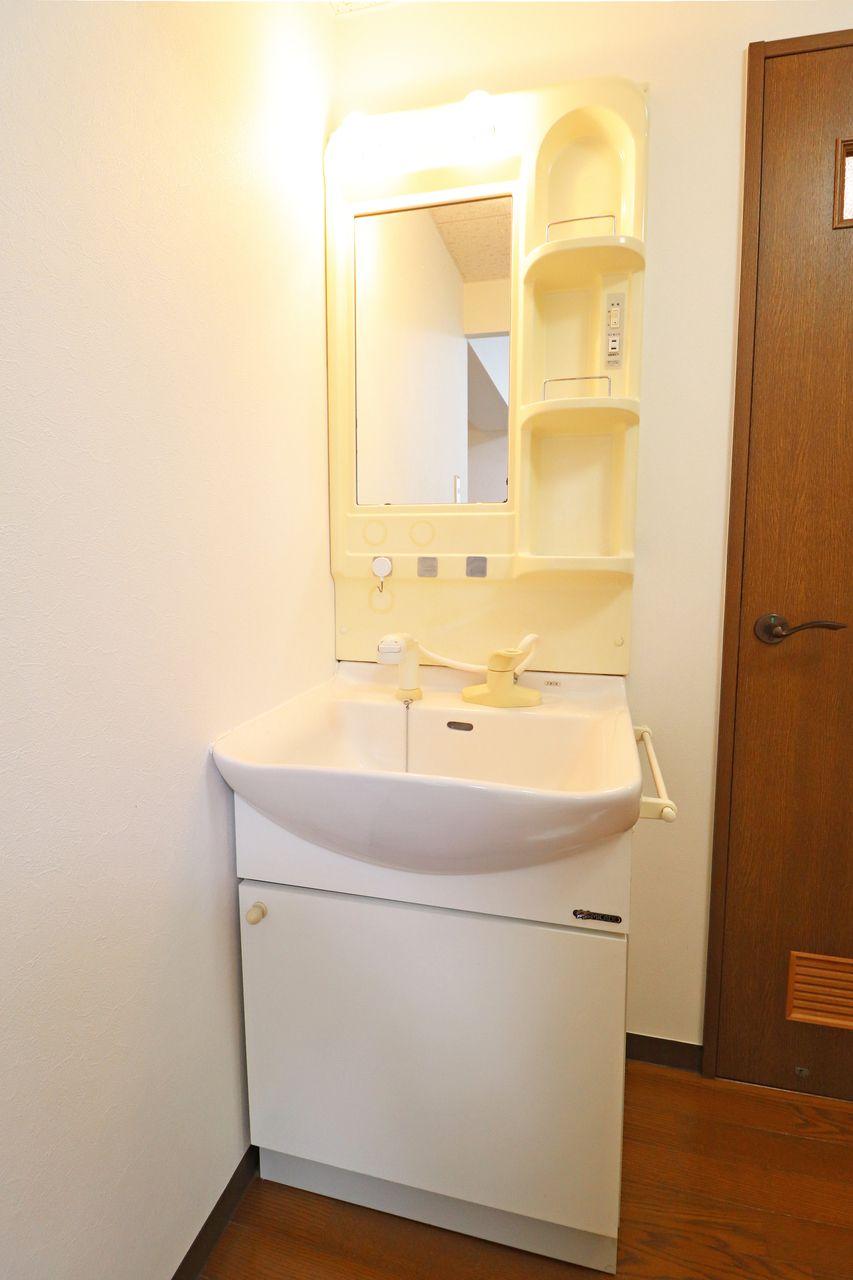 使い勝手のいいシャワー洗面台。ボウルの掃除も楽々、寝癖直しも楽々です。