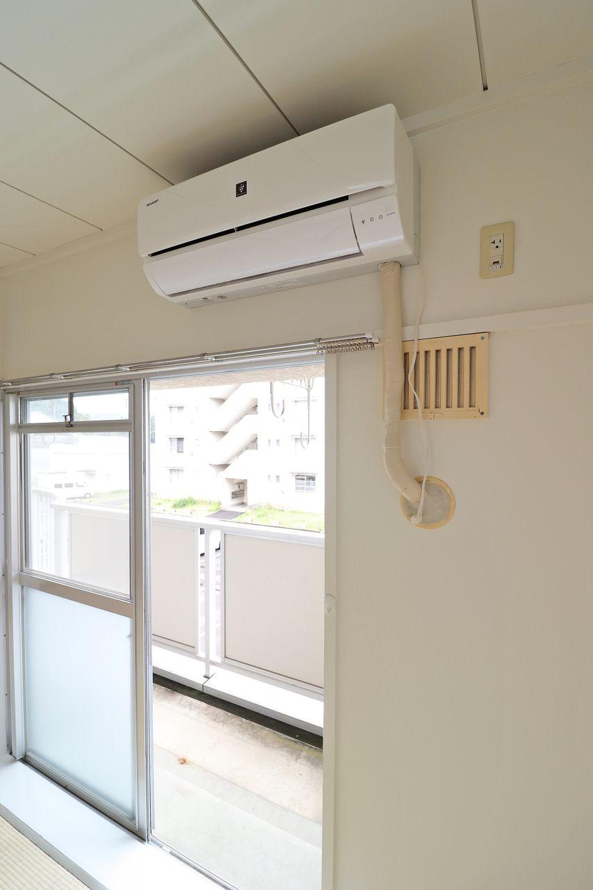 南側6畳和室に一台ついていますが、賃料1,000円UPで南側4.5畳の和室にも追加することができます!