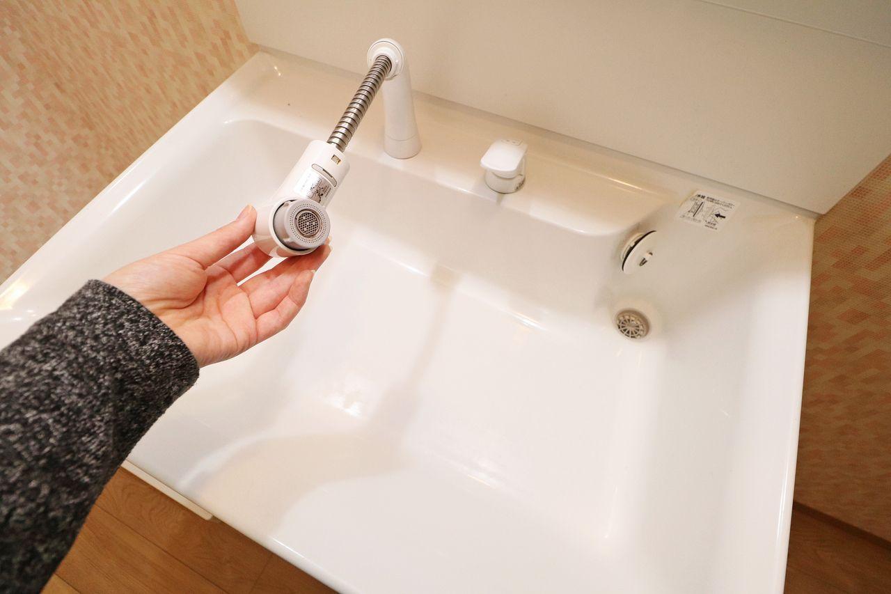 伸びるシャワータイプの洗面台です。髪の毛のセットはもちろん、大きなボウルのお掃除もササッとできますね。
