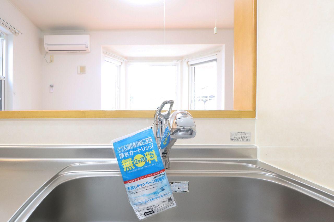 キッチンシンクを隅々までキレイにすることができる、伸びるシャワータイプ。(浄水器は別途カートリッジ代が必要となります。)