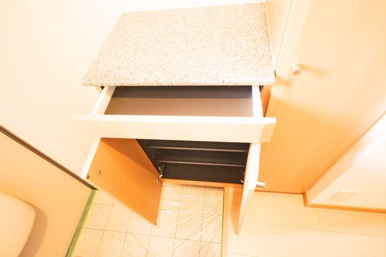 玄関には大容量のシューズボックスが!小物が入れられる引き出しつきです♪