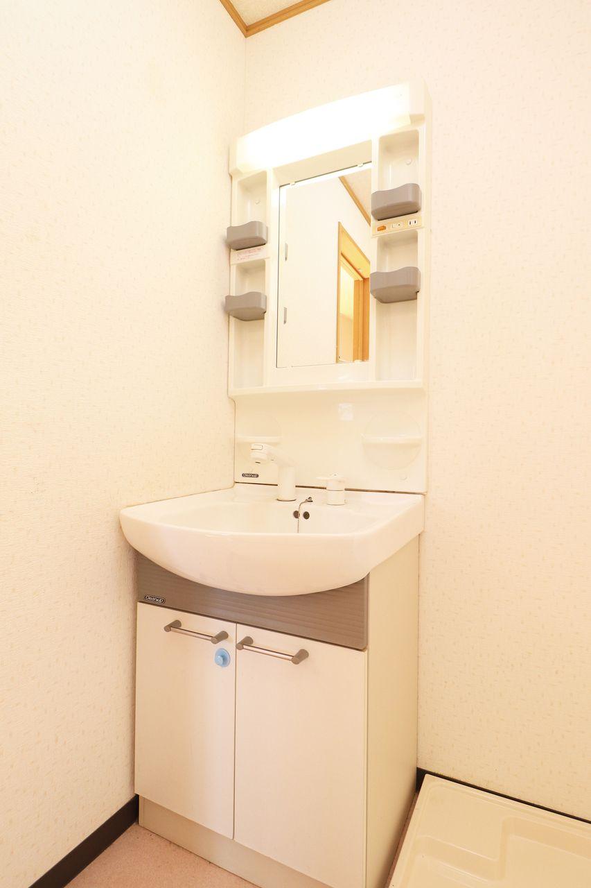 伸びるタイプのシャワー洗面台です。寝グセ直しやボウルのお掃除もラクラクな設備☆