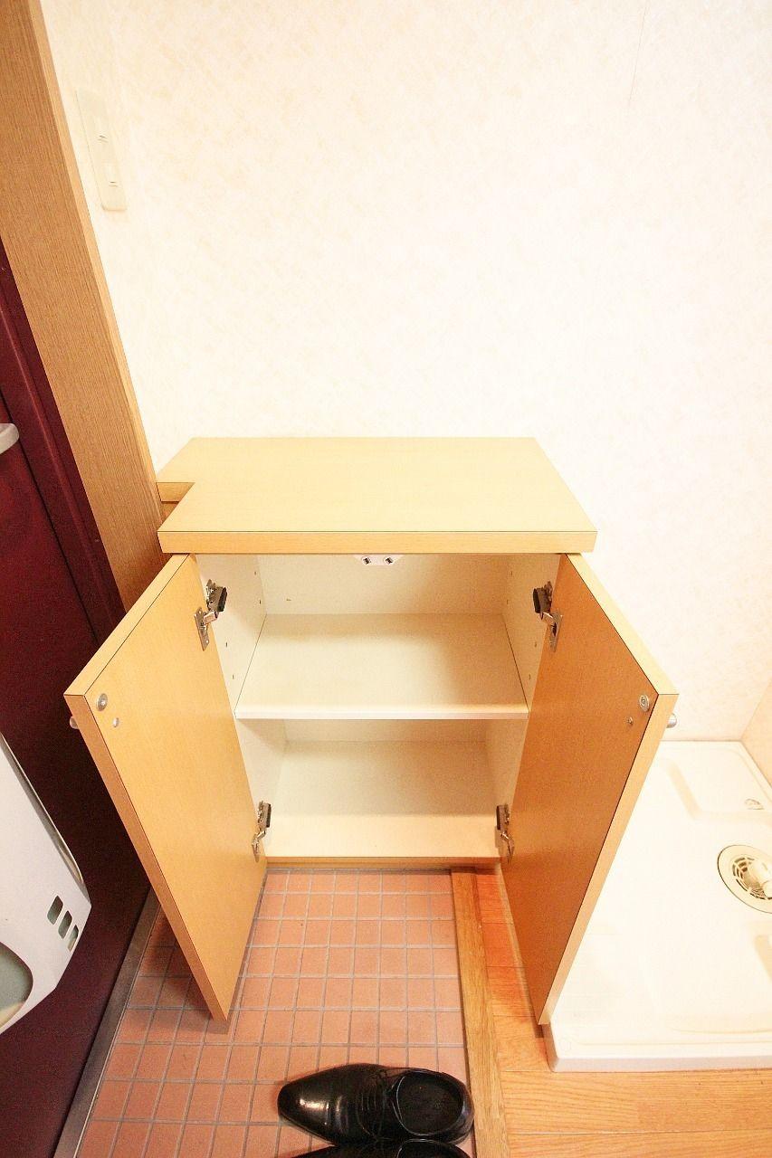 小さいですが、1人暮らしには丁度いい下駄箱が付いています。棚部分も有効に活用できます。