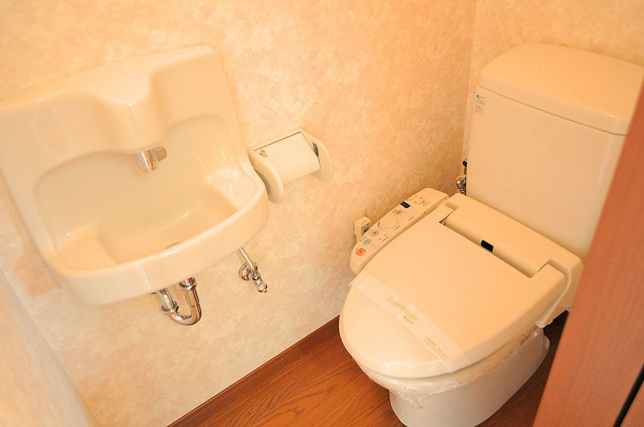 トイレはもちろんウォシュレット♪手洗い場もついています。