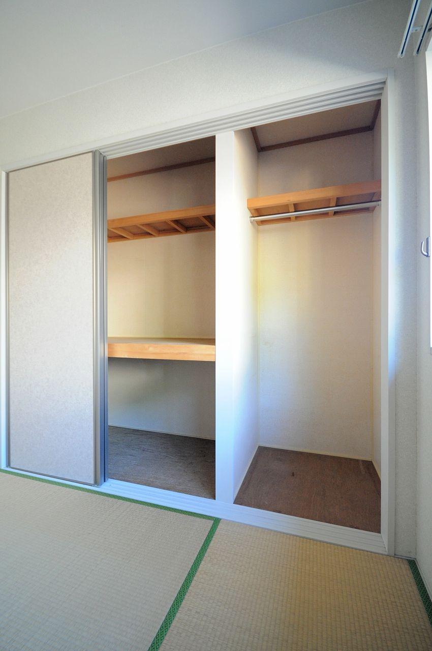 和室には押入れとクローゼット、洋室にはクローゼットがあるので収納力も◎