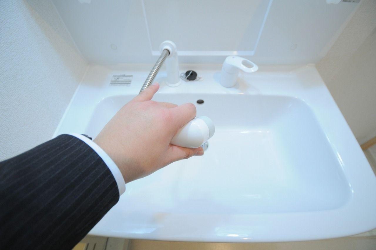 ハンドシャワータイプの洗面台です。使い勝手がよく、寝癖直しに便利です。