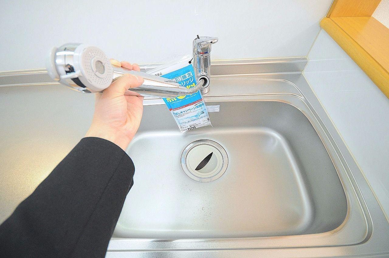 キッチンは浄水器付きのシャワータイプの水栓です。※浄水器を使う場合は、別途でカートリッジを購入する必要があります。