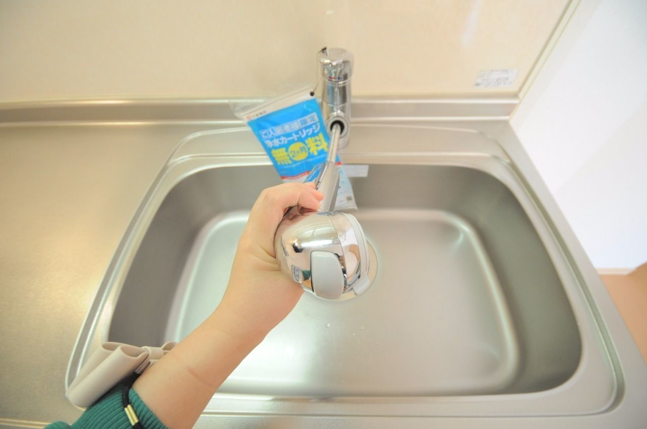 ハンドシャワー付きのシングルレバー水栓。伸びるタイプなのでシンクのお掃除もラクラク。