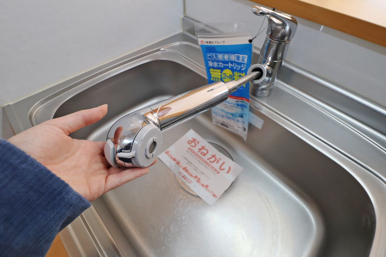 浄水器とハンドシャワーが付いた便利な水栓です。シンクのお掃除もラクラク♪(※別途カートリッジ代が必要です。)