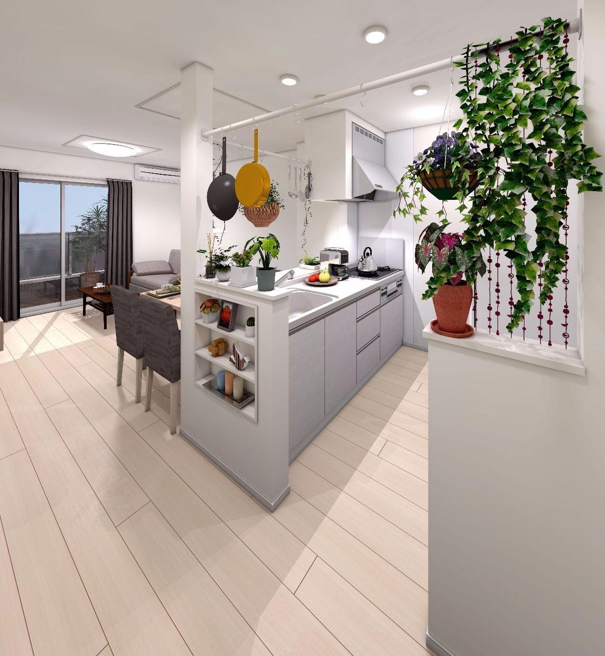手前の棚「アクセントニッチ」には小物を収納でき、調理器具等を掛けられるマルチバーも活躍間違いなしです!