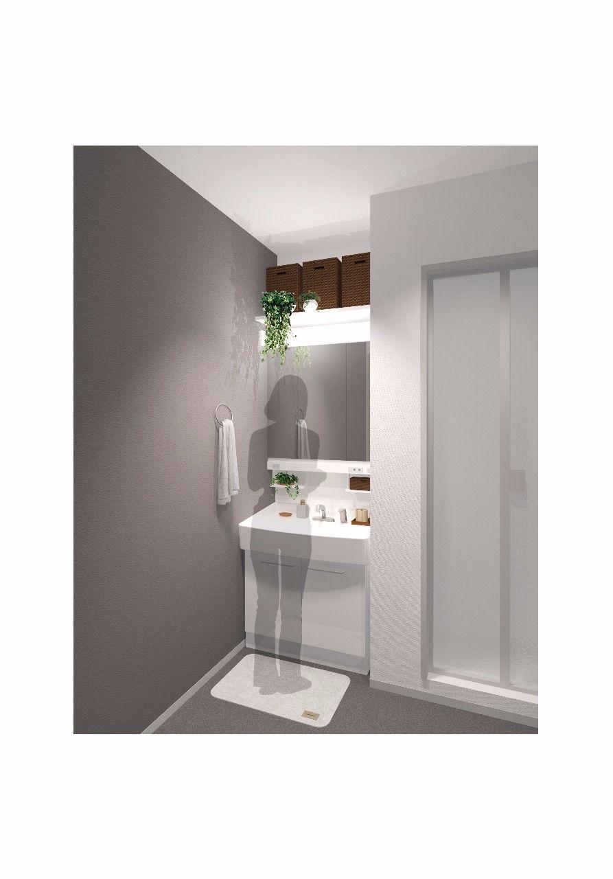 広々使える洗面台です。上部の棚も便利そう!