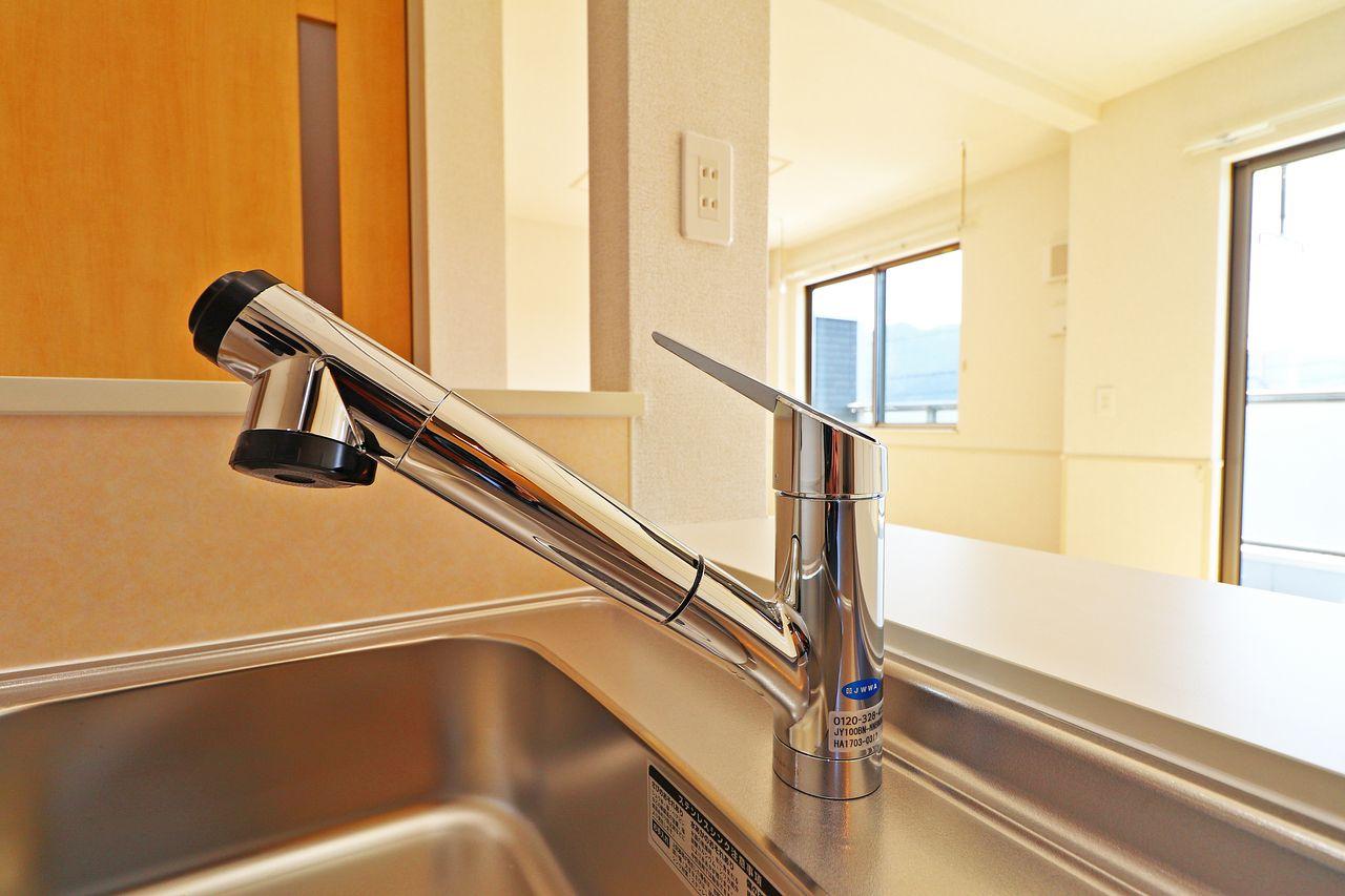 キッチンシンクのお手入れが楽々♪別途料金がかかりますが浄水器も付けられるので、大切なペットの飲み水としても使えます♪