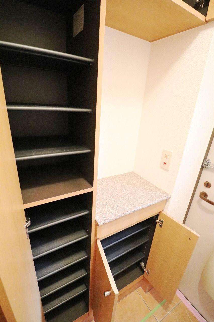 大容量のシューズボックス。靴好きさんには必須の設備です!玄関もごちゃごちゃしません。