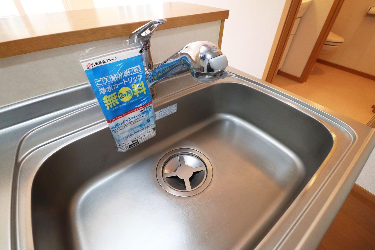 衛生的でおいしい水が利用できます。(※別途カートリッジ料金が必要になります。)