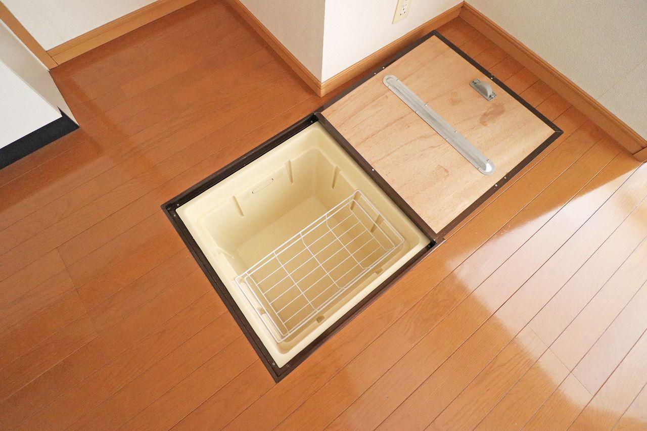 1階ですもの、もちろんありますよ床下収納。暗所保管の野菜でも保存食でもお酒でもなんでも入れちゃえます!