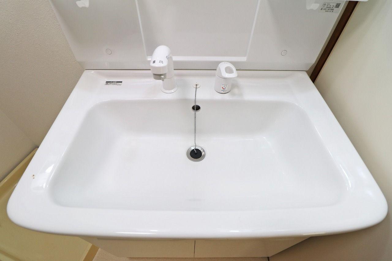 伸ばせるシャワータイプの洗面台。朝の寝癖直しや洗面台お掃除が楽です。