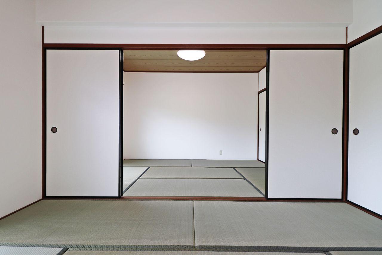 襖を外せば簡単に12畳の広々空間が出来上がります。生活スタイル・家族構成に応じて色々な使い方ができます。