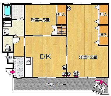 夕陽ヶ丘ハイツ304号室の間取り図