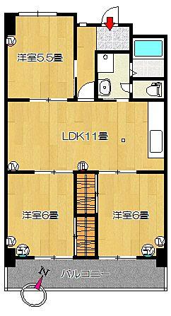 3LDK 間取り図 コーポ四万十2号館 402号室