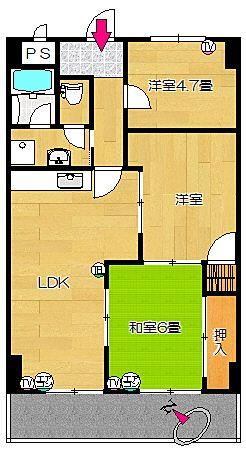四万十市 マンション コーポ四万十1号館302号室 間取り図