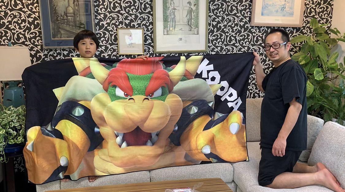 大きなクッパのビッグバスタオルの写真