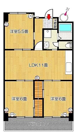 コーポ四万十2号館102号室の間取り図です