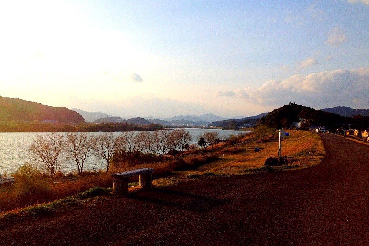 竹島の堤防(四万十川最下流)