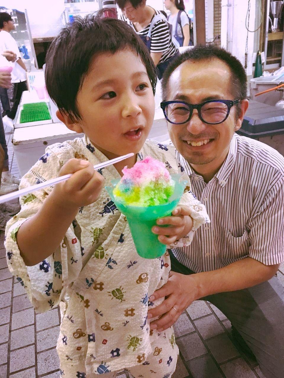 暑い中食べるかき氷サイコー!